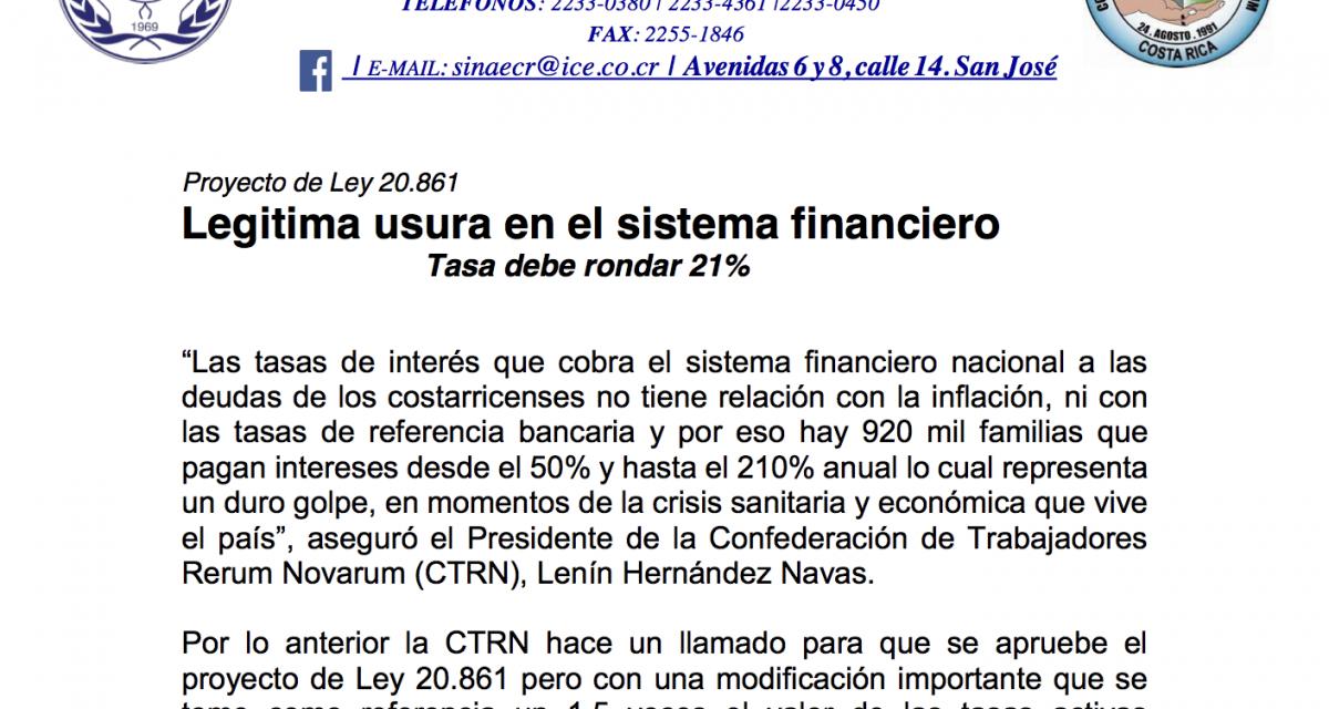 Proyecto de Ley 20861 – Legitima usura en el sistema financiero